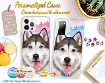 Personalized Realistic Alaskan Malamute Case For iPhone 7 8 X XS XR XS 11 12, Samsung Galaxy S10 S20 S21 Case, Malamute Custom Gift #ICPLP62
