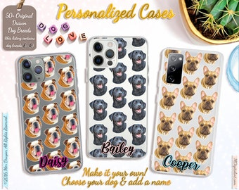 Customized Dog Breed Pattern On iPhone Case 7 8 X XS XR XS 11 12, Samsung S10 S20 S21, Make It Your Own Dog Case, E-R Breed List #ICPLPP02
