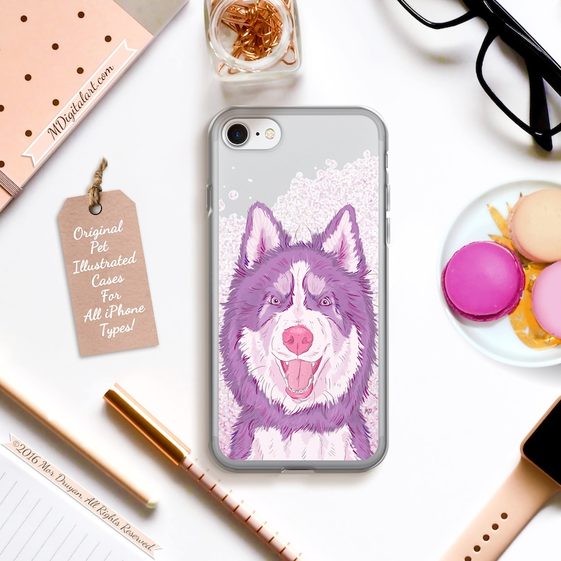 Cheeky Siberian Husky Colorful Case For iPhone 6s 6 7 8 Plus X image 0