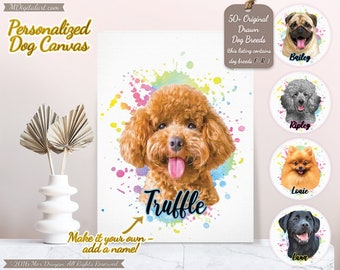 Custom Your Dog Breed Portrait On Canvas, Make It Your Own Dog Canvas, Personalized Dog Lover Gift, Pet Loss Gift, F-R Breed List #PCPY02