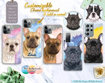 Personalized Realistic French Bulldog Custom Case For iPhone 7 8 X XS XR XS se 11 12, Samsung S10 S20 S21 Case, Frenchie Dog Gift #ICPLP26
