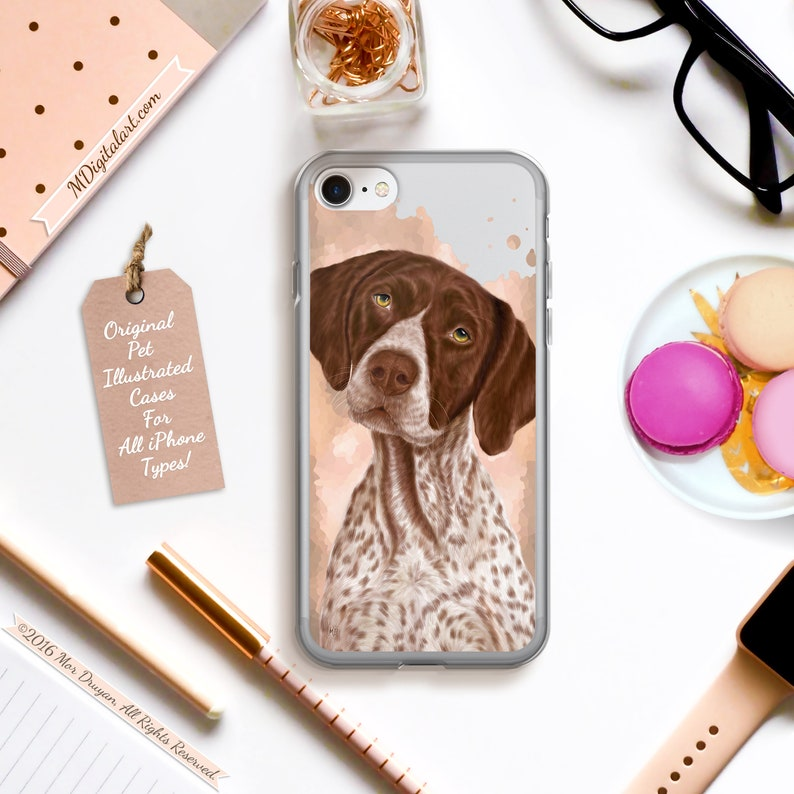 Realistic German short-haired Pointer case for iPhone 6s 6 7 8 image 0