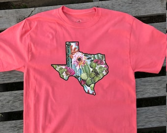 Womens State Shirt Cactus Shirt Texas Shirt White or Coral ANY STATE AVAILABLE