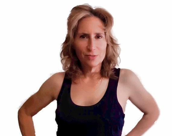 Sweaty Tee, Style 6, women's detachable side panel, velcro fastener, tank top