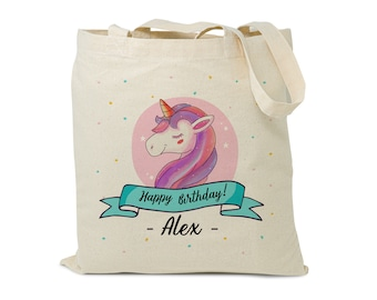 Unicorn mini tote bag fully lined with unicorn fabric children/'s unicorn personalised mini tote bag