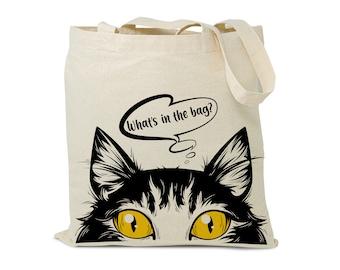 Cute Red Fat Cat Kitten Canvas Tote Bag fabric book Bag Market Bag Reusable Gift Bag