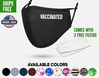 Vaccinated Face Mask, Cotton Face Mask Protective 3 Layers with Adjustable Earloops, 3D Pattern Nose Wire Filter Pocket Washable Made In USA