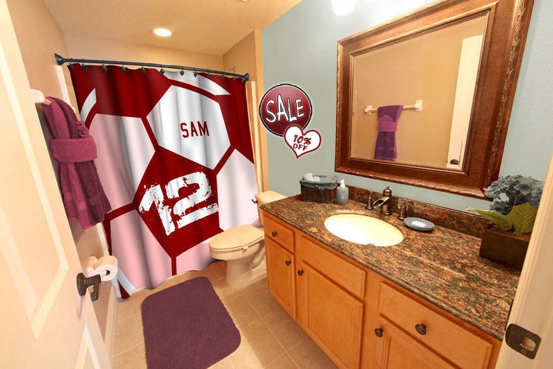 Admirable Soccer Ball Shower Curtain Red Soccer Shower Curtains Custom Soccer Curtain Soccer Gift Gift Idea Personalized Shower Curtain Sale Download Free Architecture Designs Xerocsunscenecom