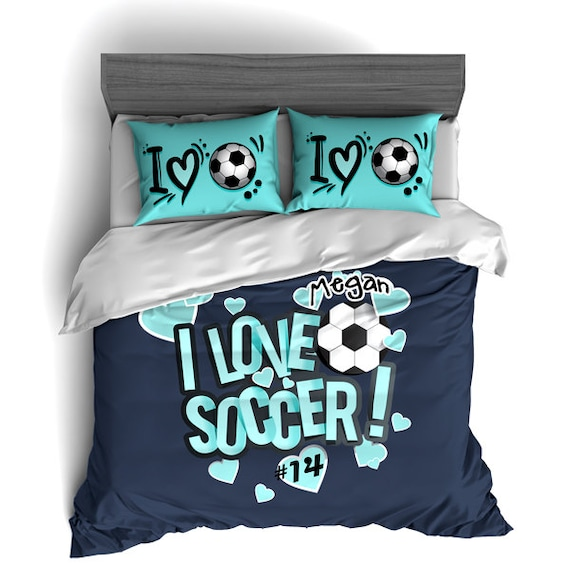 superb Soccer Comforter Full Part - 16: Custom Soccer Bedding Personalized Soccer Comforter Soccer | Etsy