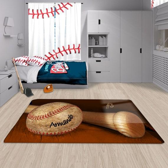 Baseball Rug: Baseball Rug Personalized Baseball Rug Orange Custom Area