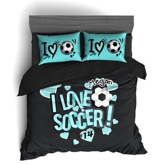 marvelous Soccer Comforter Full Part - 14: Custom Soccer Comforter Soccer Duvet Soccer Bedding Black | Etsy