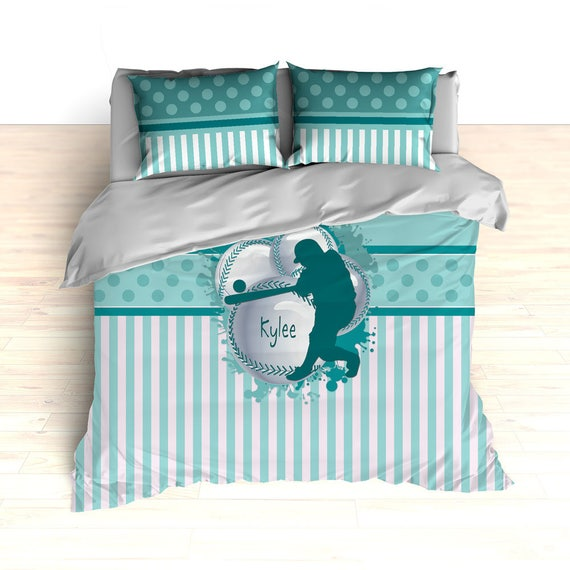 Copripiumino Re Sole.Teal Softball Bedding Personalized Softball Theme Bedding Etsy