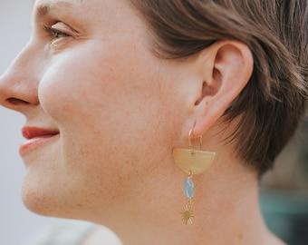 Golden Moon Earrings/ Half Moon Earrings/ Kyanite Earrings/ Sun Earrings/ Boho Earrings/ Bridal Jewelry/ Bridesmaid Jewelry