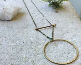 Circle and Bar Necklace, Circle necklace, Geometric necklace, Shapes, Layered necklace