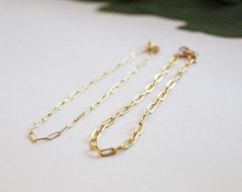 Paperclip Bracelet, Chain Bracelet, Gold Bracelet, Gifts for her, Adjustable Bracelet