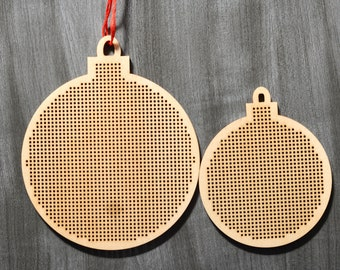Christmas bauble shape. Plywood cross stitch, embroidery blank. 3 inch and 4 inch. laser cut. Christmas, Xmas Ornament, pendant decoration
