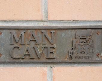 MAN CAVE door sign, Wall plaque. Old Style, Bronze Resin, Outdoor Indoor, Shed, Garage Sign with Golden Fleece Wayne 605 Bowser, Gas Pump