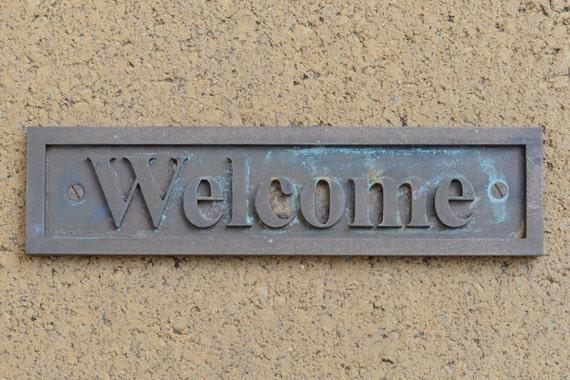 Bienvenue plaque de porte ou Plaque murale, signe de Style ancien, Cast Bronze résine porte enseigne, porte, bureau, Bar, Cafe ou Restaurant porte, mur. Petit