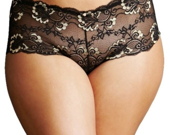 91160310873 Black Floral Lace Cheeky Size 1X
