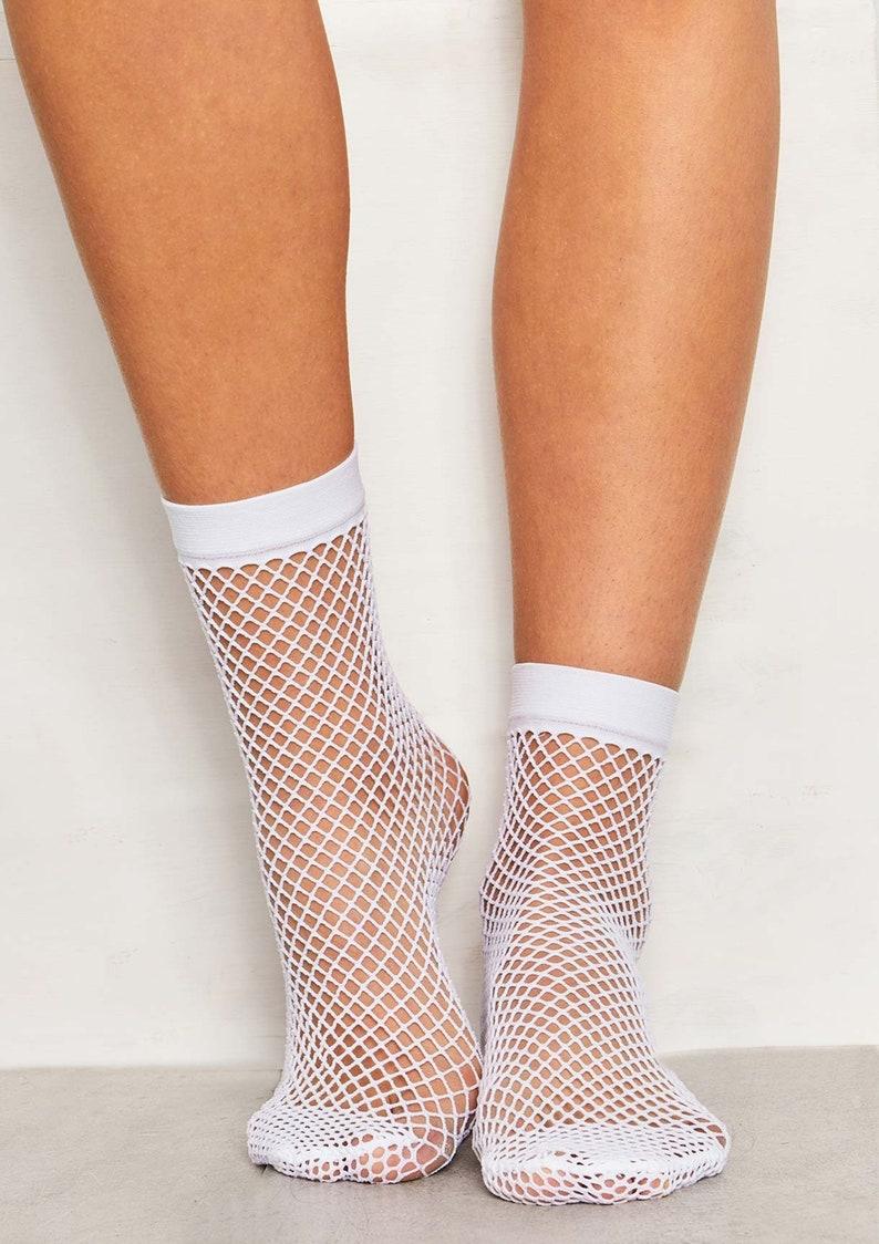 eb96f7b5f3c0 Prestige Biatta White Fishnet Ankle Socks | Etsy