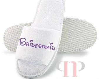 Wedding Slippers with Walt font, bride, bridesmaid, hen party