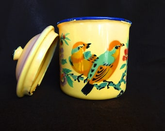 Mid century Lidded enamel mug Rare Chinese jar with lid Yellow Colorful birds flowers Collectibles Enamelware cups Metal cup Decorated