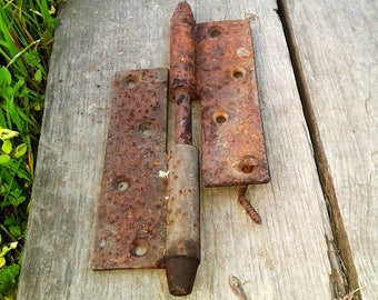 Old rusty metal door hinge Rusted Iron Industrial salvage Collectible hardware Antique Altered art steampunk assemblage Props Rustic decor