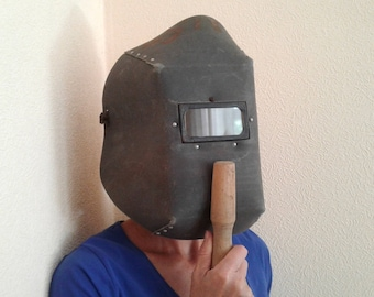 Old face shield Safety welder mask Welding protection Funny gift Trick or treat Fancy dress party Halloween Wasteland Boo Horror costume