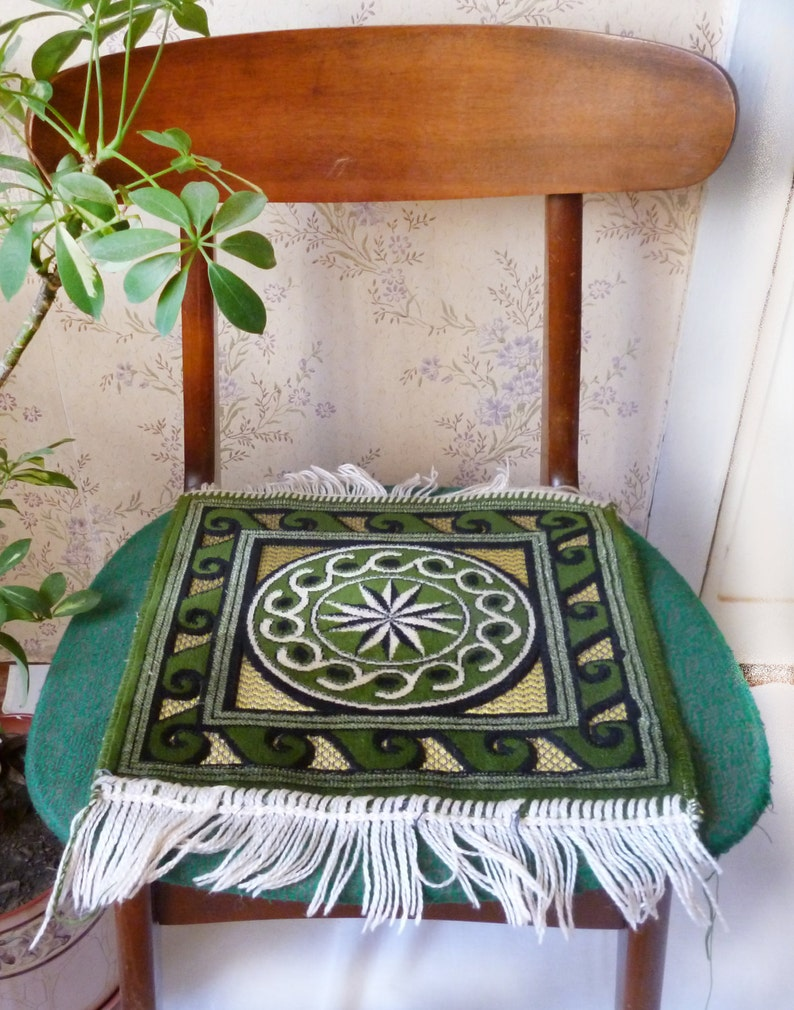 Green chair pad Small pile carpet rug Armchair stool cover Car seat mat Recliner Lounge Pets Decorative kilim Prayer Welcome Farmhouse decor
