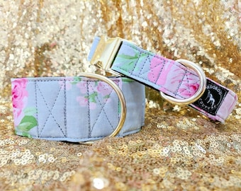 Peonies Floral Girly Dog Collar: Martingale or Buckle style available; Pink and Grey; brass hardware; black satin lined; adjustable lengths