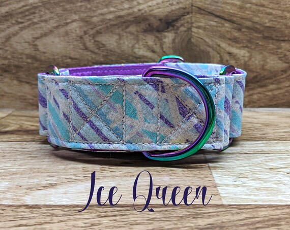 Ice Queen winter martingale dog collar: neochrome hardware, purple satin lined