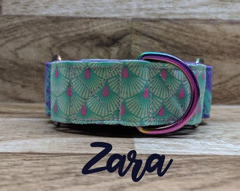 Neo chrome purple and teal martingale collar; multi / rainbow chrome hardware
