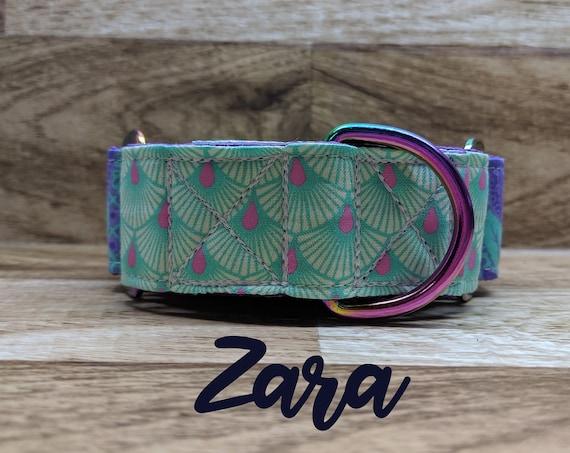 Neo chrome purple and teal martingale collar; multi / rainbow chrome hardware