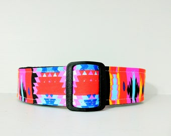 Southwest Style Dog Collar: Martingale or Buckle Style available. Pink, orange, red, bold geometric pattern.