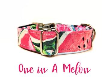 Watermelon Buckle Collar: Pink summer girly dog collar; black satin lined; silver hardwares; adjustable lengths