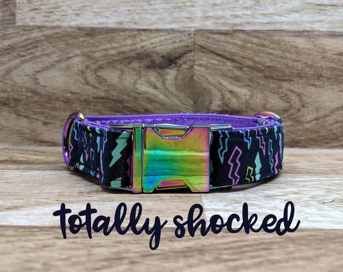 Featured listing image: Neo chrome lightning bolt buckle dog collar; multi / rainbow chrome hardware; purple satin lined