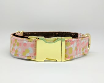 Pink and gold polka dot buckle Dog Collar: BRASS Hardware, satin lining
