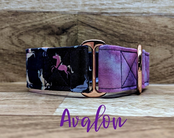 "Purple Unicorn Martingale Dog Collar with Rose Gold Hardware; Satin lined; 1"" and 1.5"" width martingales available"