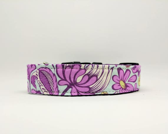 Purple and Teal Floral Dog Collar: Side release buckle collar, purple satin lined, adjustable, flower print