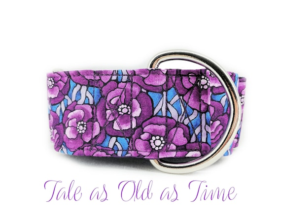 Martingale Dog collar: Purple flower print; girly design; satin lined; silver hardware; adjustable length
