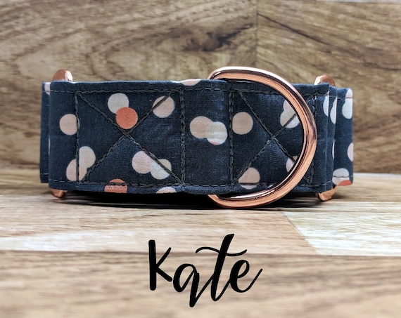 "Rose Gold Polka-Dot Martingale Dog Collar; Rose Gold Hardware; Satin lined; 1"", 1.5"" widths available"