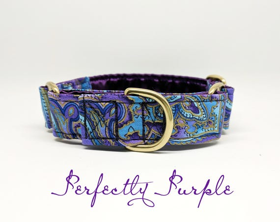 "Martingale or Buckle Dog Collar: Purple and Blue Paisley; Brass hardware; satin lined; adjustable sizes; 1"", 1.5"", or 2"" widths available"