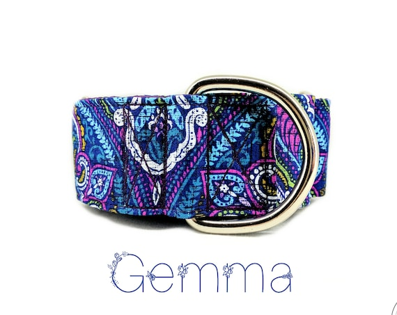 "Colourful Damask Martingale Dog Collar: Jewel toned purple and blues; Silver Hardware; 1"", 1.5"", 2"" widths available; adjustable lengths"