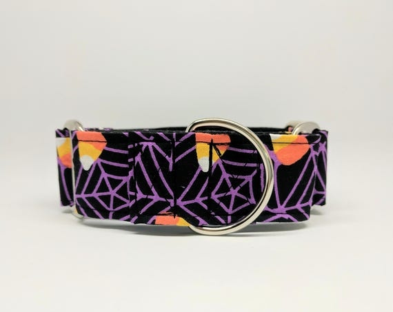 Halloween Martingale Dog Collar: Spider Webs and Candy Corn, Adjustable and black satin lined