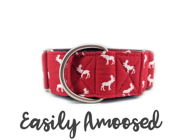 "Red Moose Martingale Dog Collar; Satin lined; 1"", 1.5"", 2"" widths available; adjustable lengths; Canada themed; made to order"