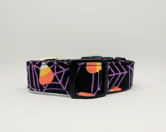 Halloween Dog Collar: Spider Webs and Candy Corn, Adjustable and black satin lined, Quick release buckle style
