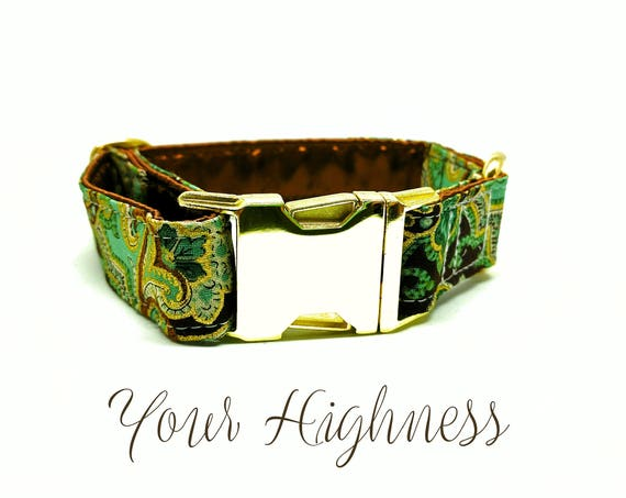 "Buckle Dog Collar: Green, Gold and Brown, Paisley, Brass Hardware, side release, clip style 1"" width"
