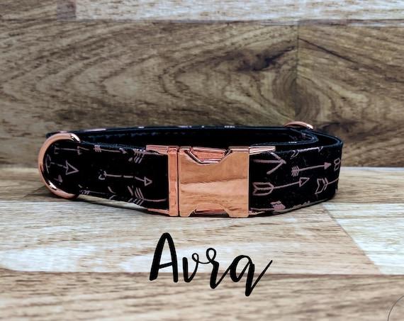 "Rose Gold Arrow Buckle Dog Collar; Rose Gold Hardware; Satin lined; 1"" width"