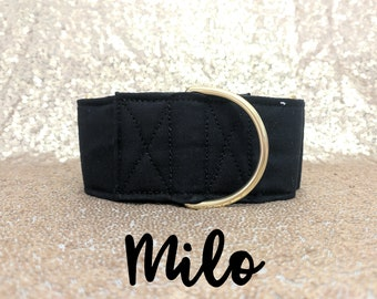 """Black and Brass Martingale Dog Collar: Brass Hardware; Black satin lined; 1"""", 1.5"""", 2"""" widths available; Classic Collar; Adjustable lengths"""