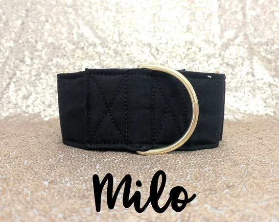 "Black and Brass Martingale Dog Collar: Brass Hardware; Black satin lined; 1"", 1.5"", 2"" widths available; Classic Collar; Adjustable lengths"